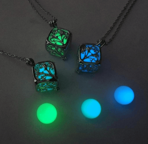 Tree Of Life Luminous Cube Charm Pendant & Necklace