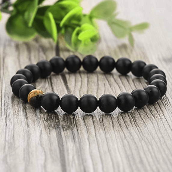 Tigers Eye And Matte Obsidian Distance Bracelet Set