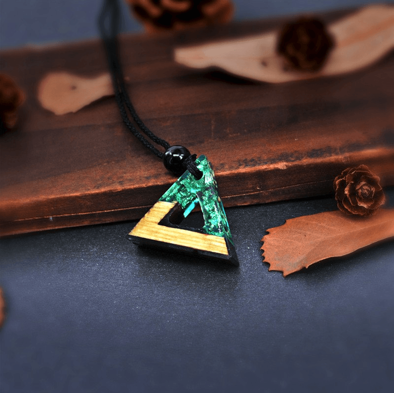Handmade Natural Wood & Resin Triangle Pendant