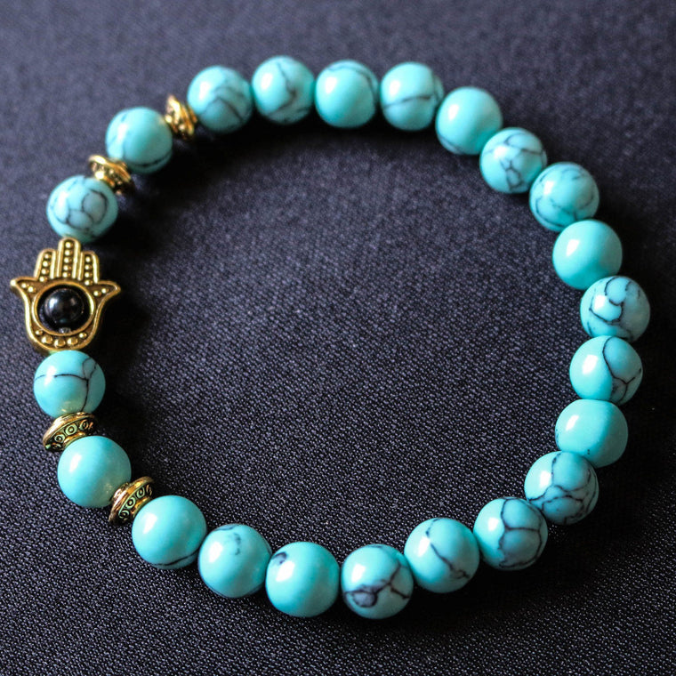 Turquoise Onyx Bead Bracelet With Gold/Silver Hamsa Charm