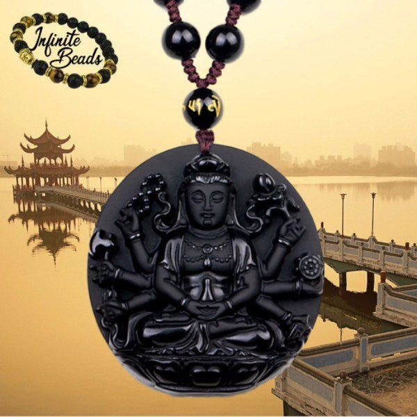 Obsidian Buddhist Deity Pendant and Bead Necklace