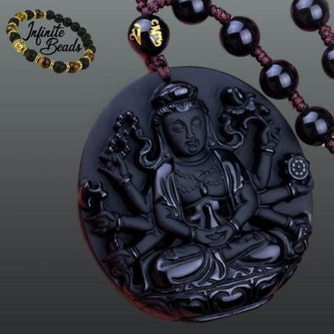 Beads - Obsidian Buddhist Deity Pendant And Bead Necklace