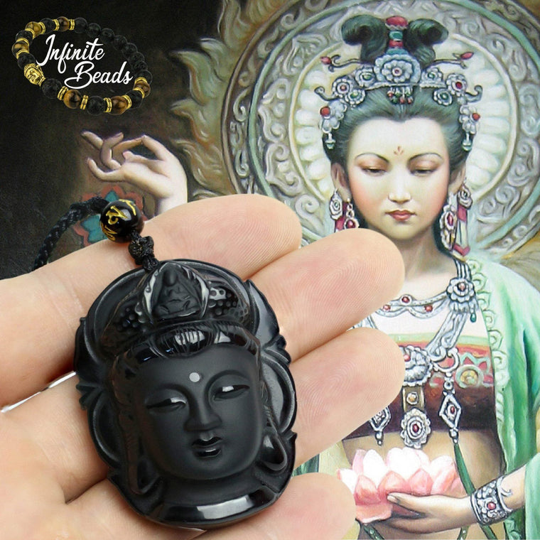 Obsidian Natural Volcanic Lava Kuan Yin Buddha Head Necklace