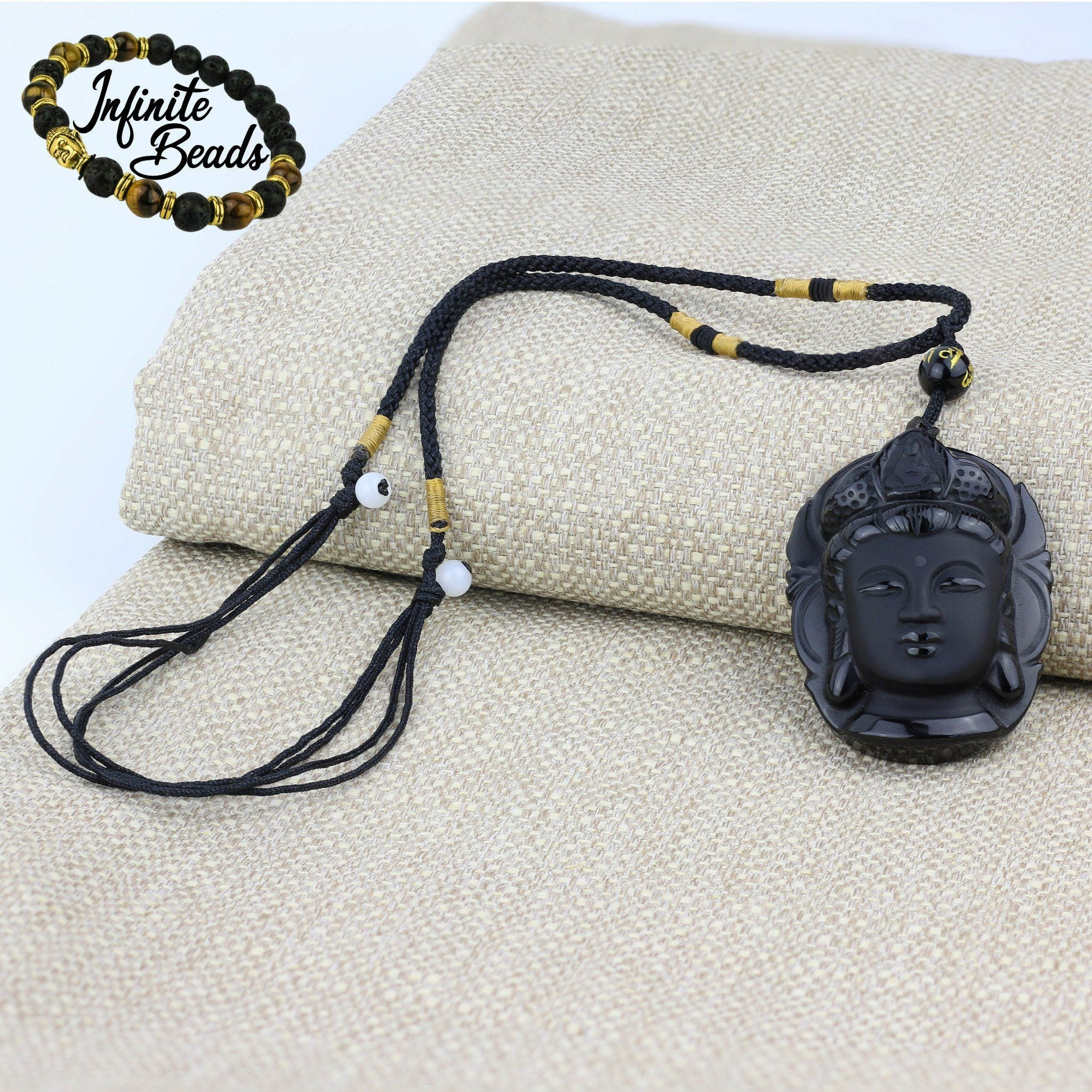 Beads - Obsidian Natural Volcanic Lava Kuan Yin Buddha Head Necklace