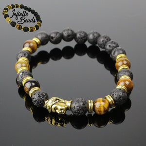 Tigers Eye & Lava Stone Buddha Head Bracelet