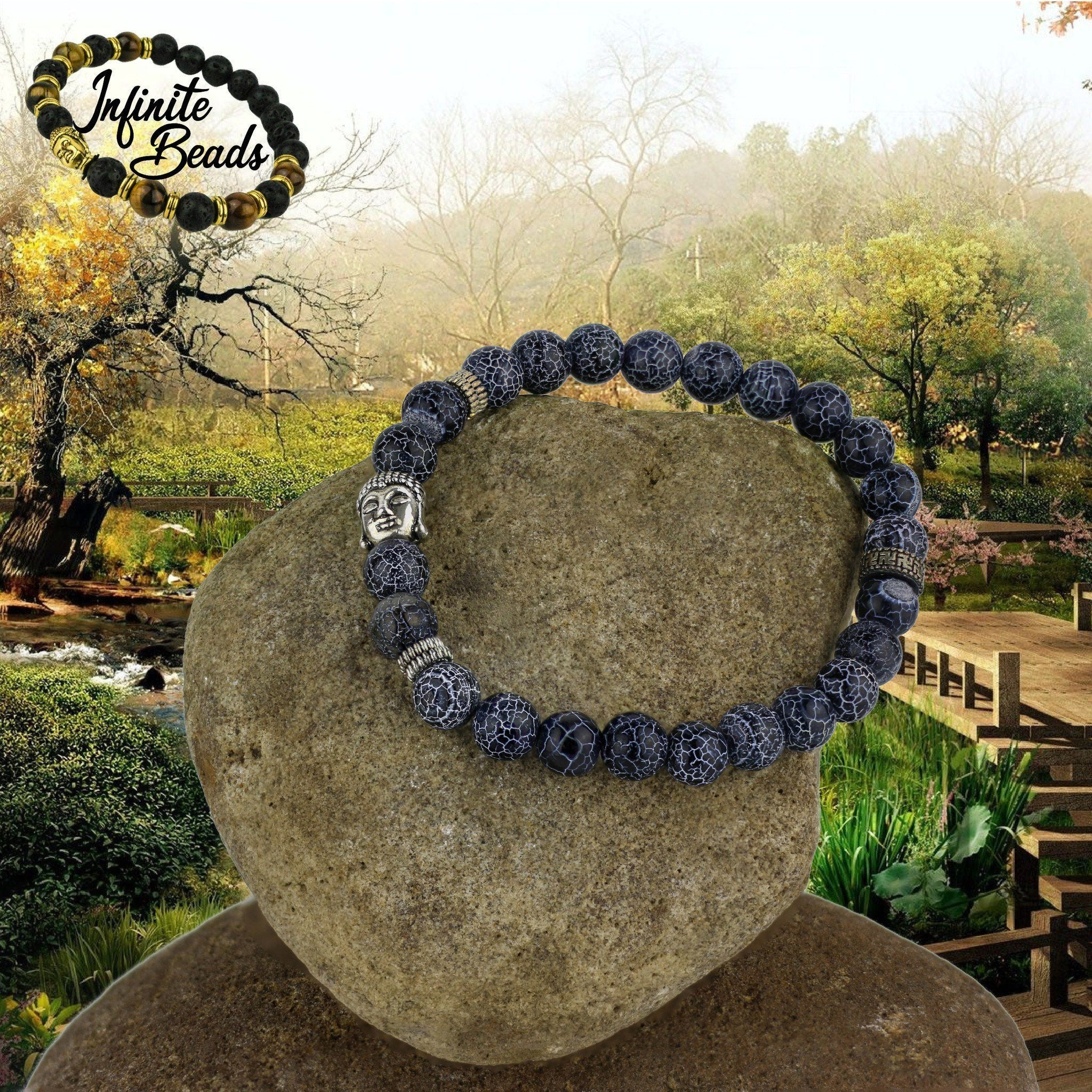 Beads - Weathered Blue Onyx Buddha Wrist Beads