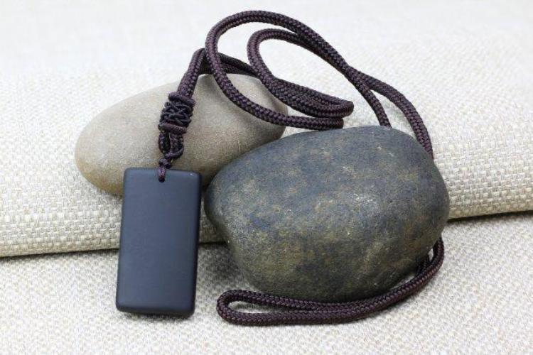 Natural Obsidian Matte Black Pendant and Necklace