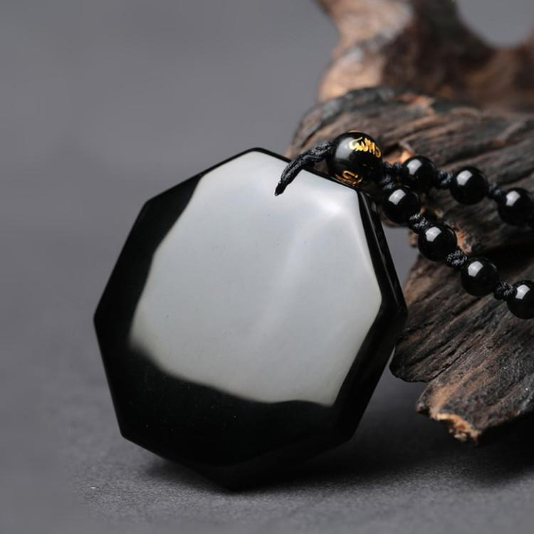 Yin Yang Necklace Obsidian back