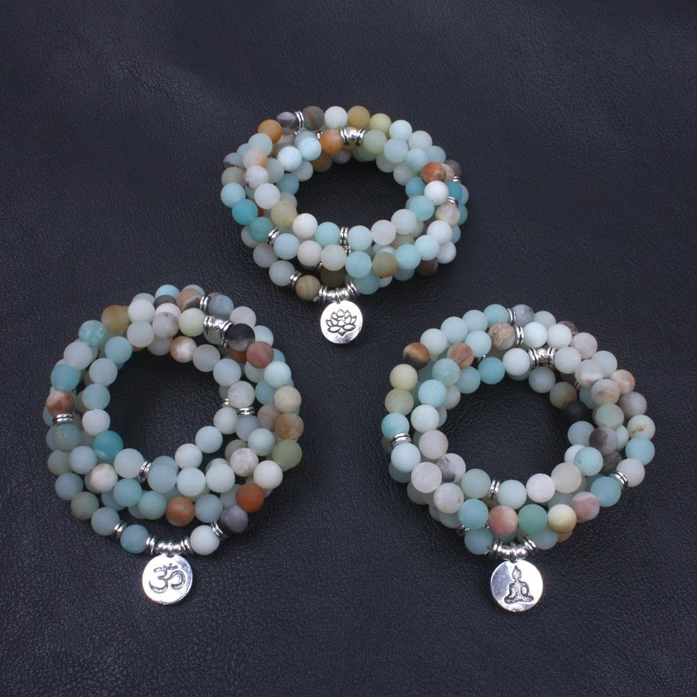 Frosted Amazonite 108 Bead Necklace and Mala Bracelet