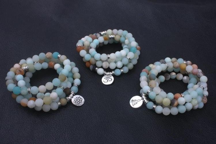 Frosted Amazonite Mala Bracelet & Necklace