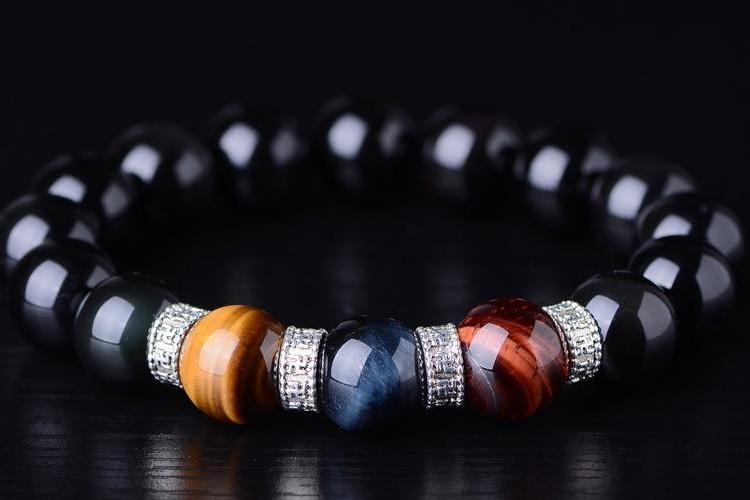 Natural Obsidian & Tiger's Eye Bracelet