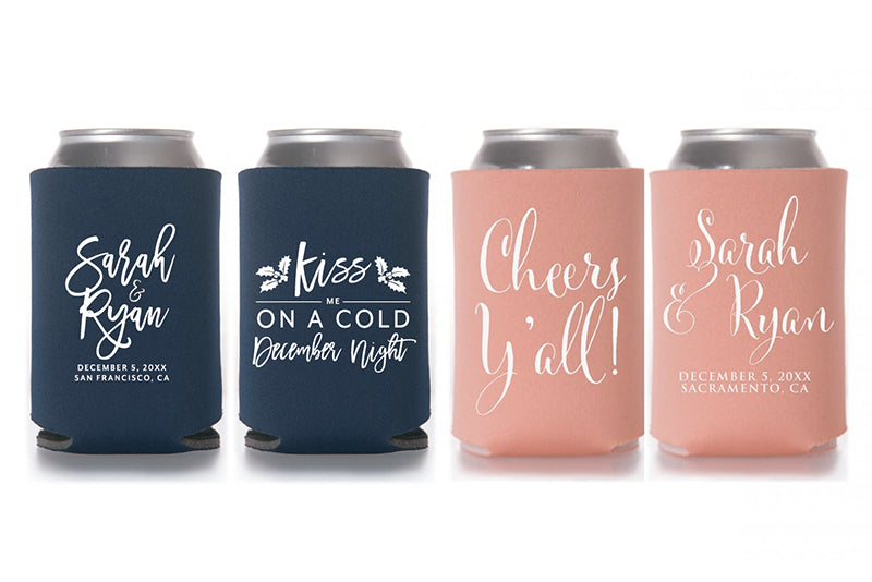 personalised koozies, wedding koozies, bridesmaid koozies, bridal party koozies, groomsmen koozies