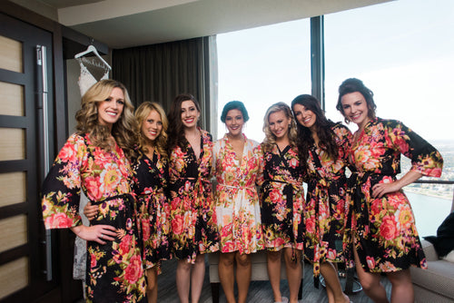 Black Floral Bridesmaid Robes and White Floral Bridal Robe