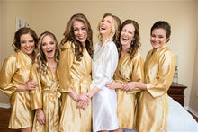 Load image into Gallery viewer, Golden Satin Bridesmaid Robe