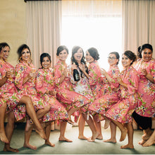 Load image into Gallery viewer, Coral Bridesmaid Floral Robe