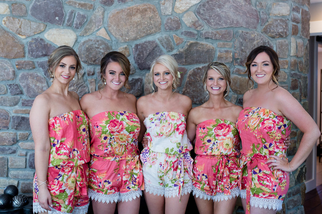 Coral Floral Bridesmaid Romper