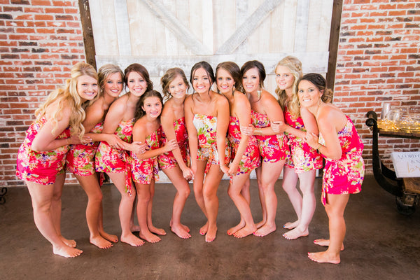 Fuchsia Floral Bridesmaid Romper , Hot Pink Romper