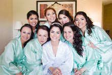 Load image into Gallery viewer, Mint Satin Silk Bridesmaid Robe