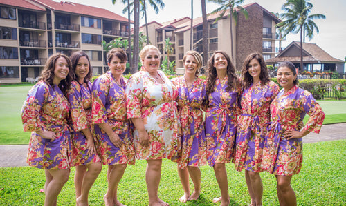 Plus Size Bridesmaid robes Floral robe