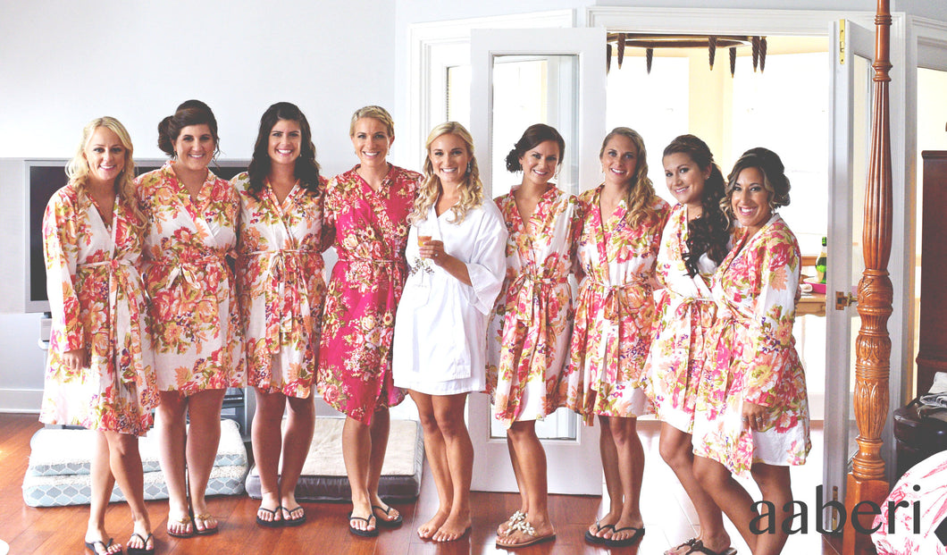 White Floral Cotton Bridesmaid Robes