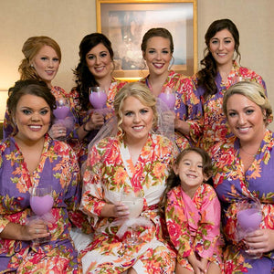 Liliac Bridesmaid Floral Robe