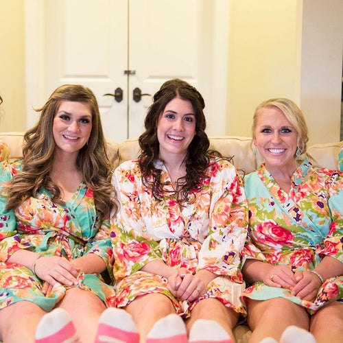 Mint Bridesmaid Floral Robe