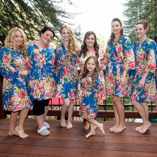 Navy Bridesmaid Floral Robe