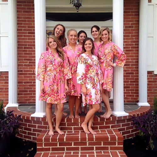 Pink Bridesmaid Floral Robe