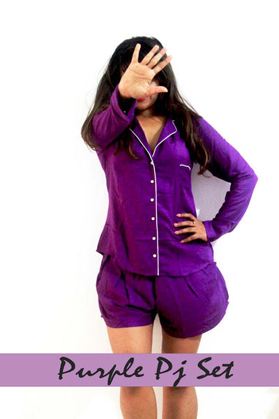 Purple Pajamas Shortie Set, Purple pajama bottoms, Bridesmaid pajama tops, bridesmaid pajamas