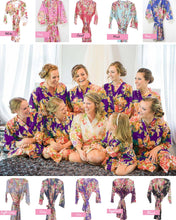 Load image into Gallery viewer, Black Bridesmaid Floral Robe