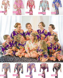 Coral Bridesmaid Floral Robe