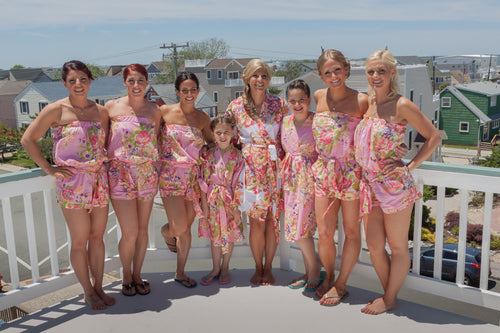 Pink Floral bridesmaid Romper