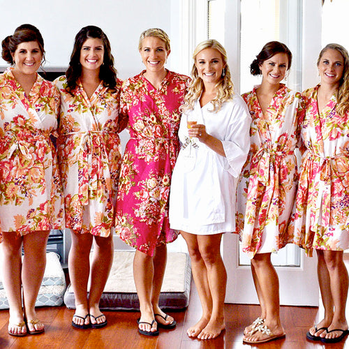 White Bridesmaid Floral Robe