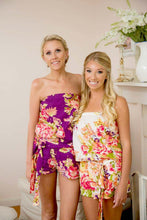 Load image into Gallery viewer, Purple Floral Bridesmaid Romper