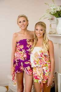 Purple Floral Bridesmaid Romper