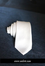 Load image into Gallery viewer, White Customised Tie , Wedding Necktie, White Groomsmen Tie, Mens Skinny Tie, Favors Gifts