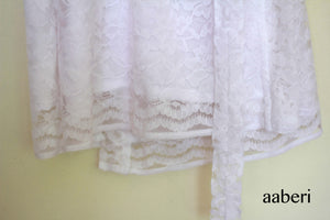 Bridal Net Lace Robe in White with customisation optional
