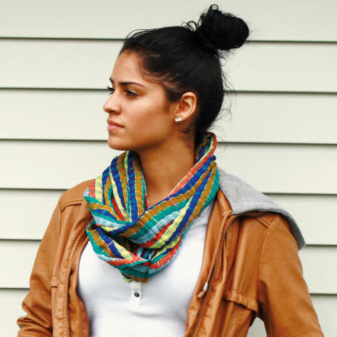 Teal Earth tone stripes handwoven scarf
