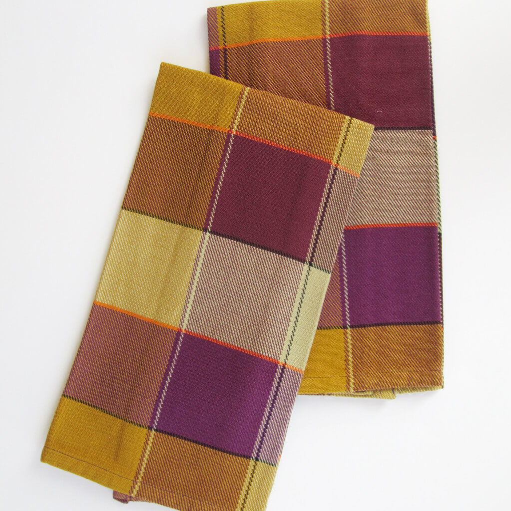 Plaid Twill Dish Towels Mustard & Eggplant