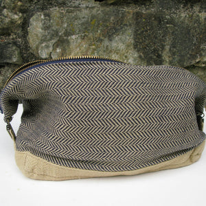 Toiletry Bag | Navy & Khaki Herringbone