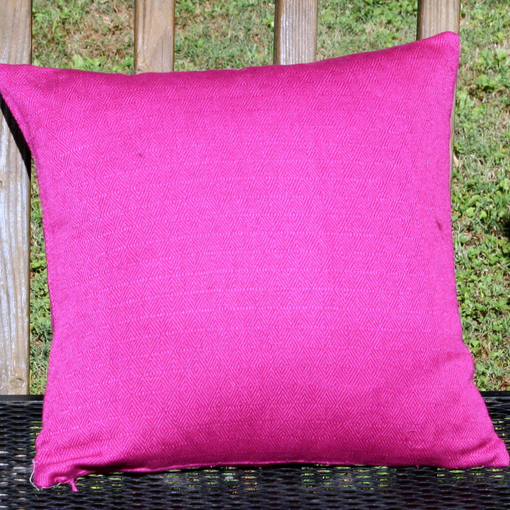 magenta diamond weave square pillow