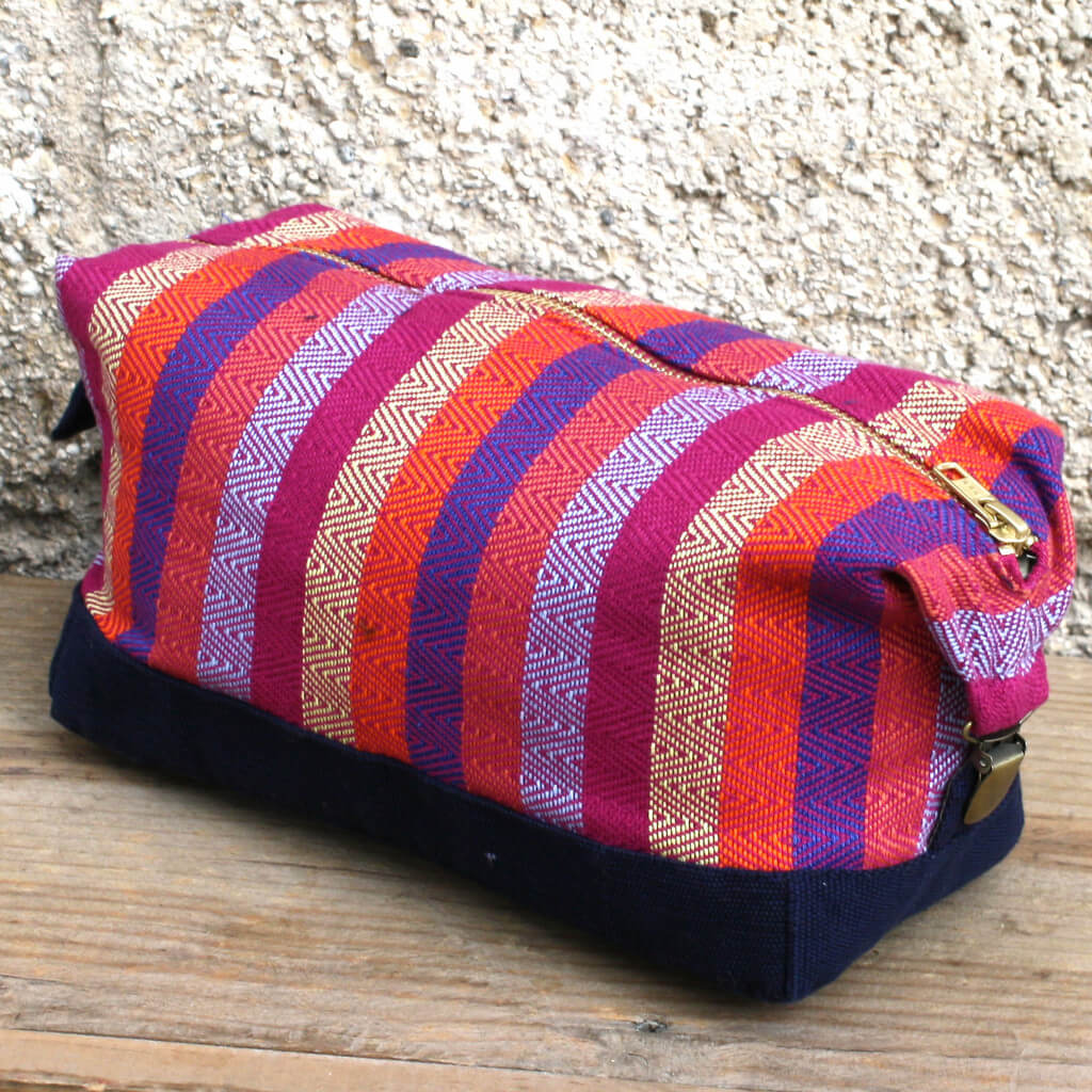 Toiletry Bag | Magenta Diamond Stripe