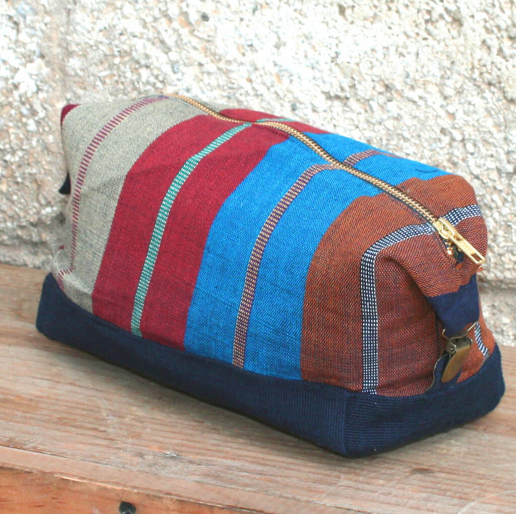Toiletry Bag | Wide Indigo Stripe