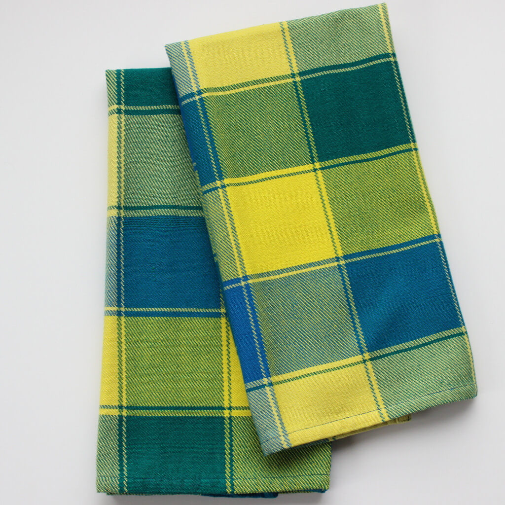 Plaid Twill Dish Towels Ocean Blue & Bright Yellow