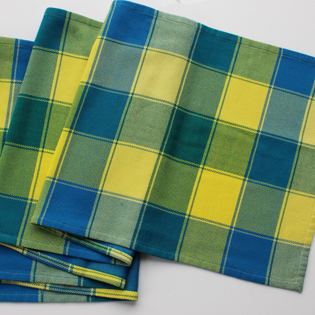 Plaid Twill Table Runner | Ocean