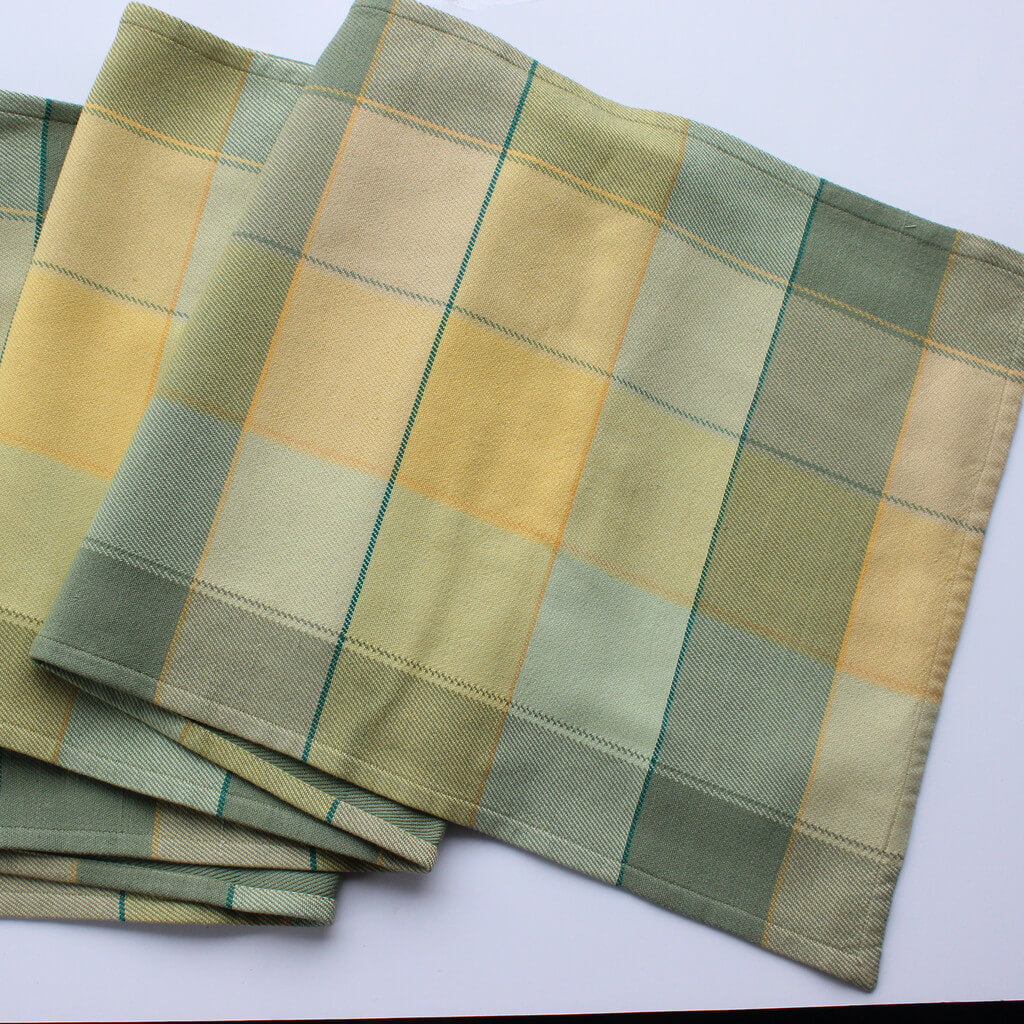 Plaid Twill Table Runner | Celery & Butter