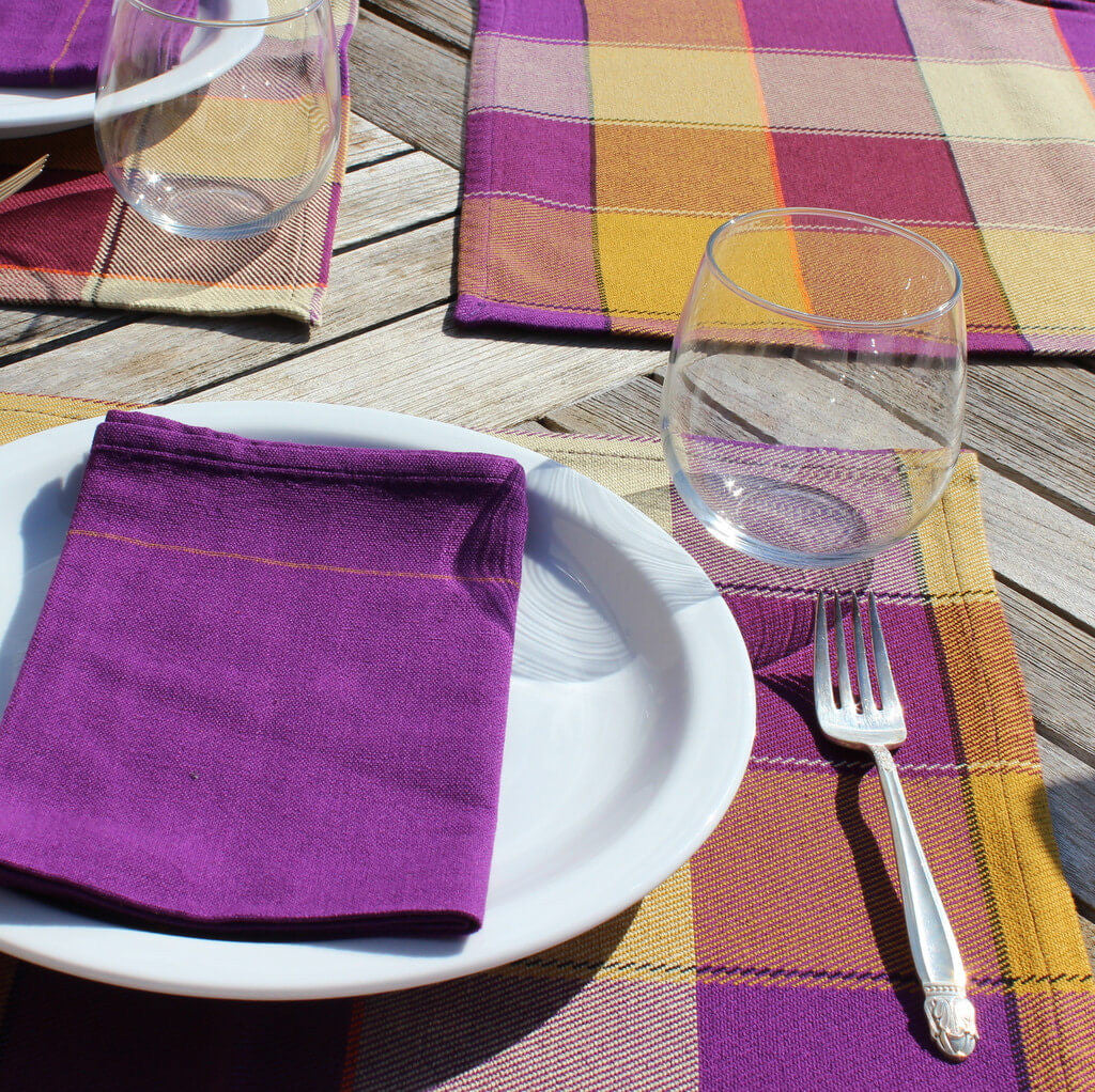 plaid twill table linens mustard eggplant