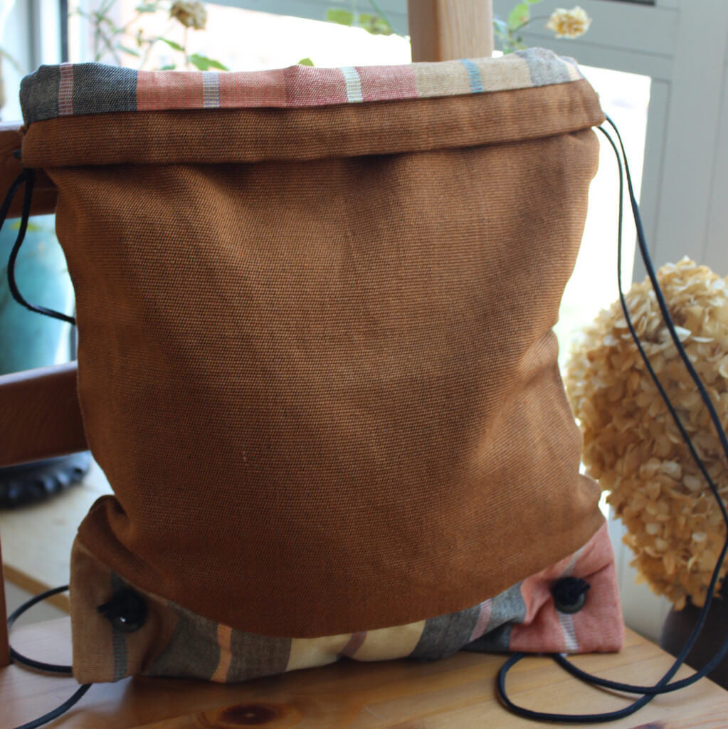 drawstring backpack caramel