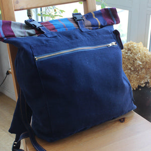 rolltop backpack indigo navy blue canvas