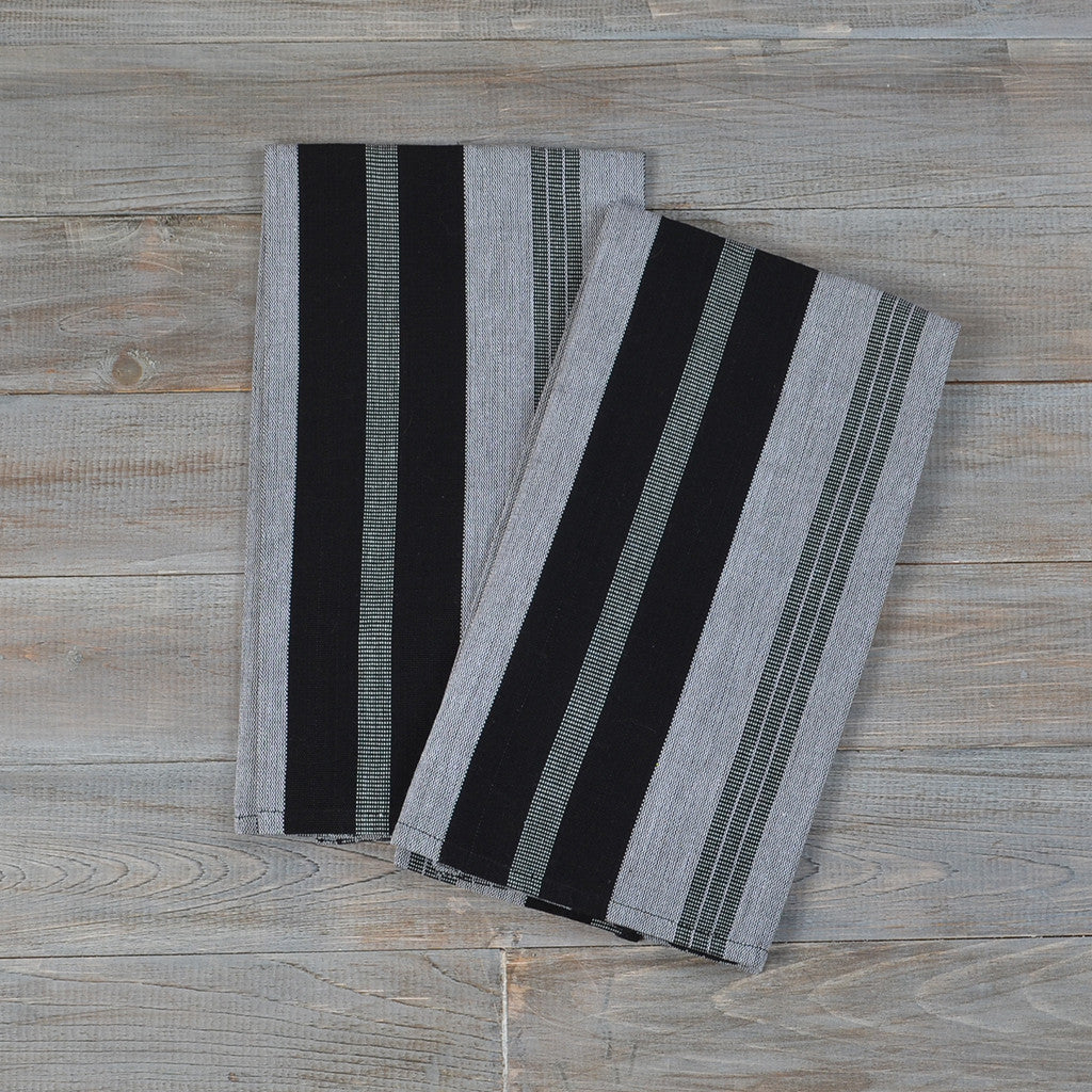 Black & Gray Striped Kitchen Towels